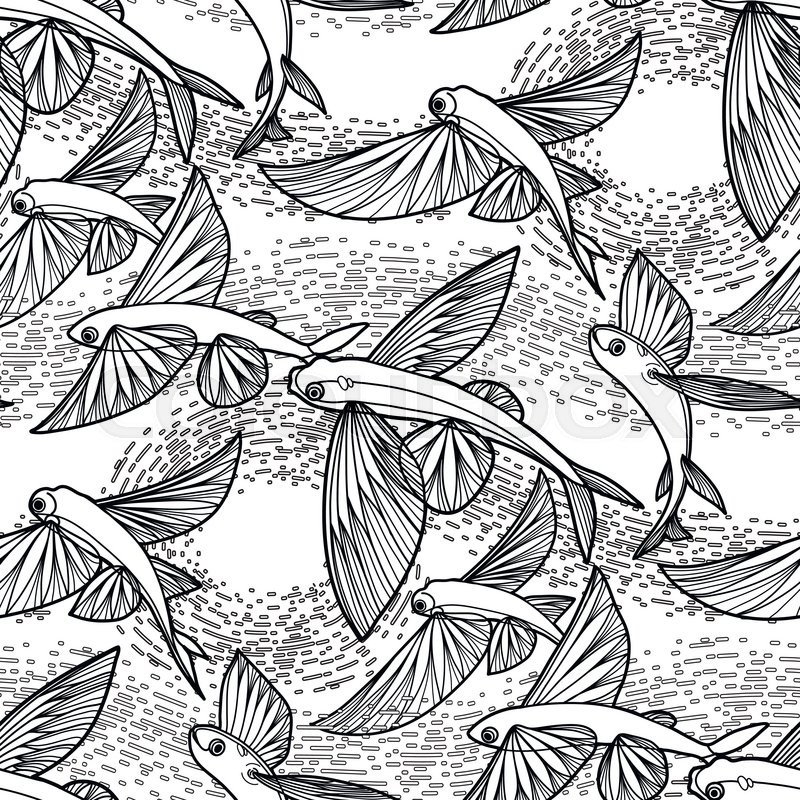 Graphic flying fish drawn in line art style. Sea and ocean seamless ...