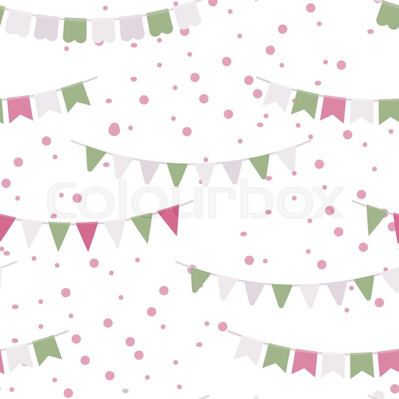 Bunting Party Flags Garland Seamless Vector Pattern Good