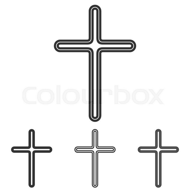 Christian Cross Symbol Icon Logo Design Set Stock Vector Colourbox