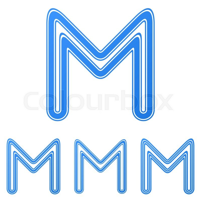blue line letter m logo design set | stock vector | colourbox