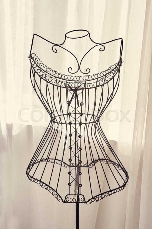 Vintage Metal Coat Rack With A Metal Wire Dress Form