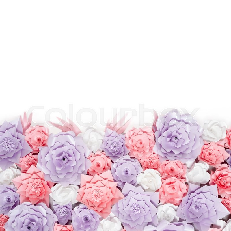 Colorful paper flowers background with space for your text floral colorful paper flowers background with space for your text floral backdrop with handmade roses for wedding day or birthday stock photo colourbox mightylinksfo