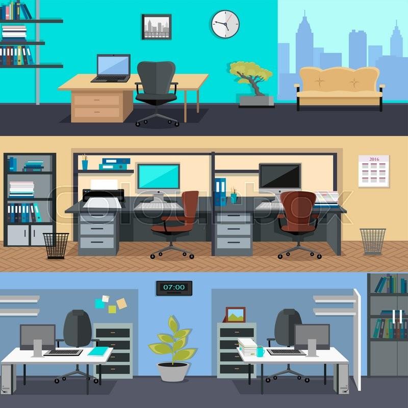 Set of modern office interior with designer desktop in for Design office space online
