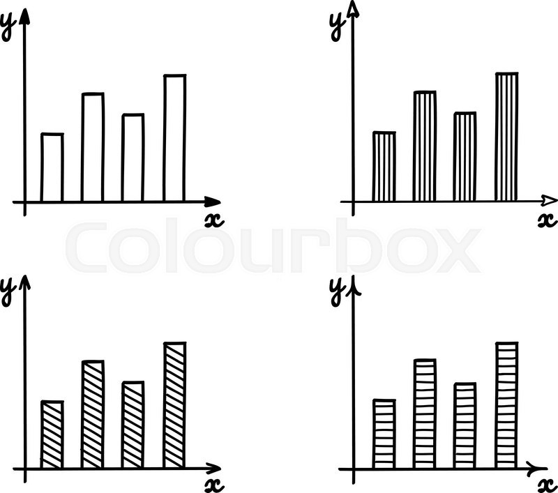 Drawing Line Graphs By Hand : Trendy hand drawn vector bar graph coordinate net design