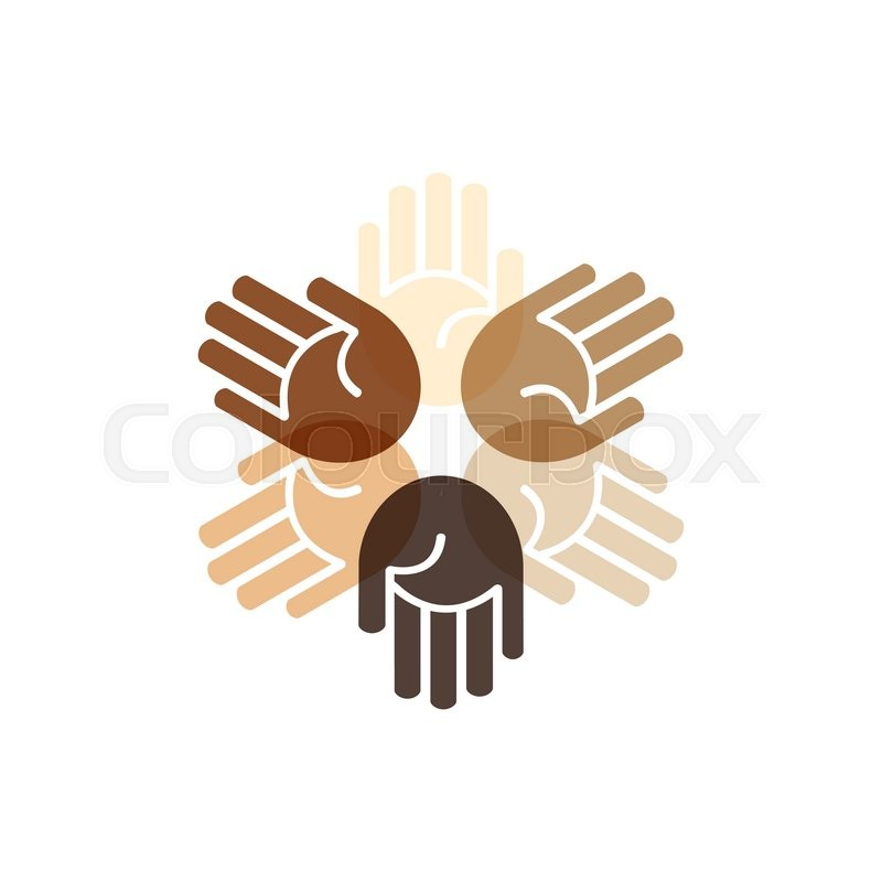 Vector people unity logo hands of different colors   Stock ...