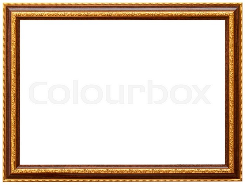 Golden Spiral Flower Frame Wood Simple Design Stock Photo