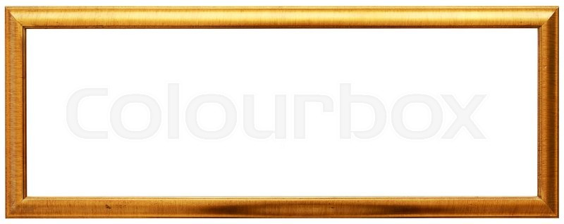 Perfect Long Golden Vintage Frame Isolated On White. Gold Frame Louis Abstract  Design, Stock Photo