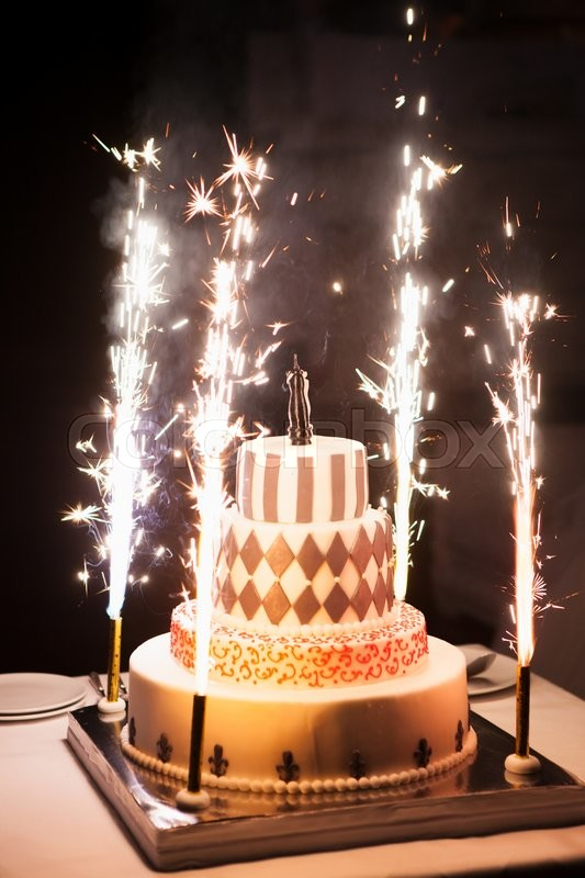 Brilliant The Festive Wedding Cake With Fireworks Stock Image Colourbox Funny Birthday Cards Online Alyptdamsfinfo