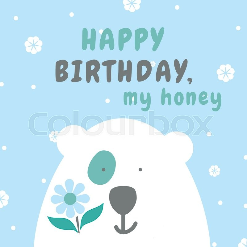 Sweet And Cute Greeting Card Happy Birthday Card With Vector Flat