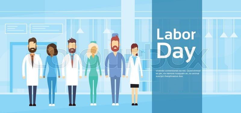 Medical Team Doctor Group Labor Day 1 May Holiday Flat Vector Illustration, vector