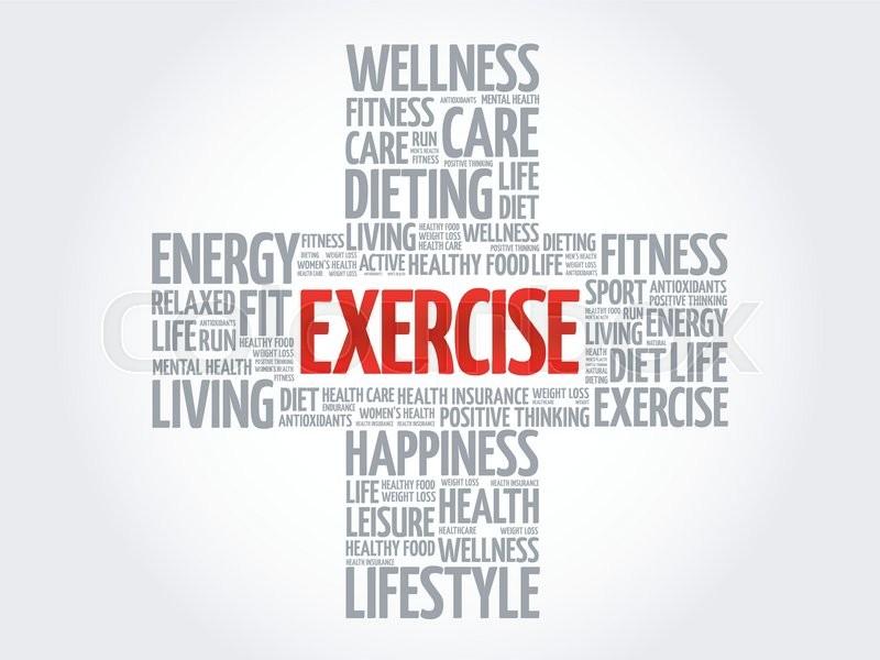 Exercise Word Cloud Health Cross Stock Vector Colourbox