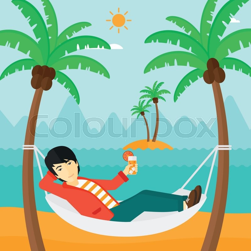 An Asian Man Chilling In Hammock On The Beach With A Cocktail Hand Vector Flat Design Illustration Square Layout