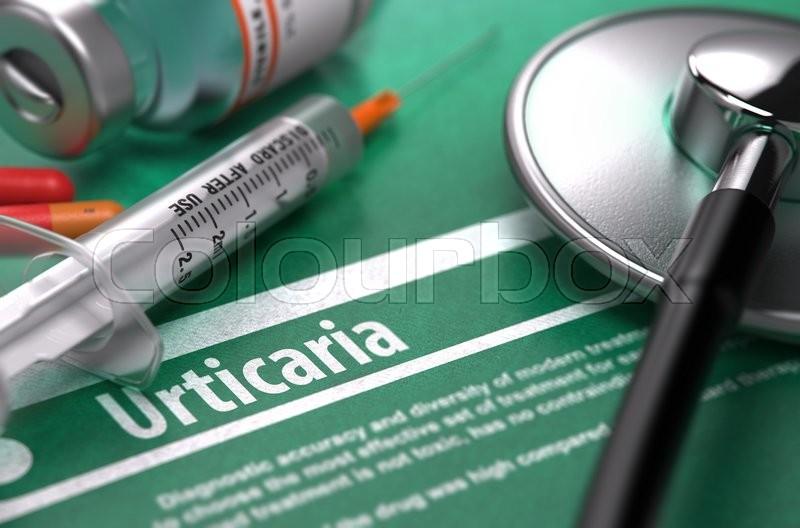Diagnosis - Urticaria  Medical Concept     | Stock image