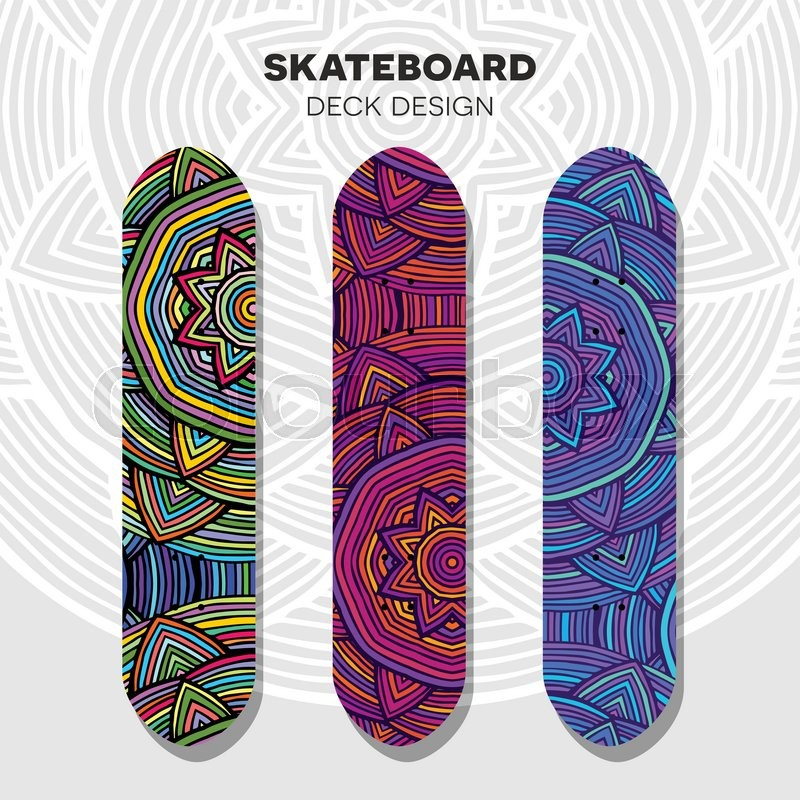 Three vector skateboard colorful designs in ethnic style, vector