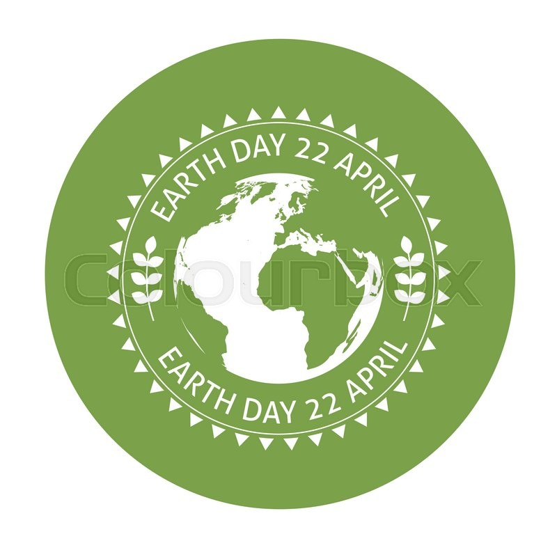 Earth Symbol On Green Background Illustration For Earth Day Stock