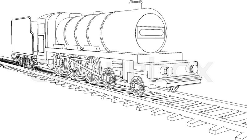 Vector Train Outline On White Background 2