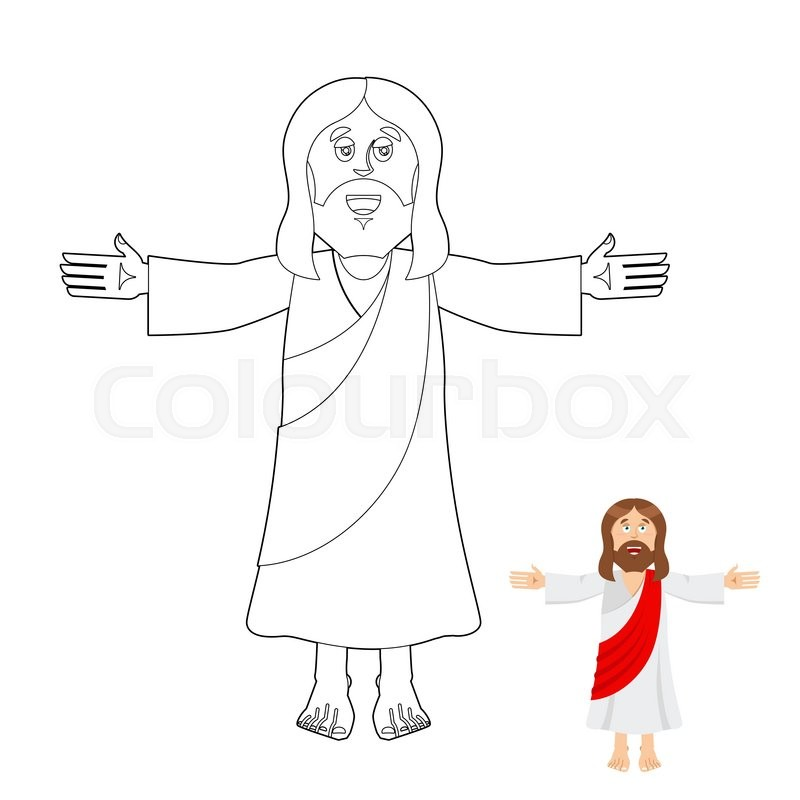 Jesus Coloring Book Christ Drawing For Children Linear Biblical People Son Of God Christians And Catholics