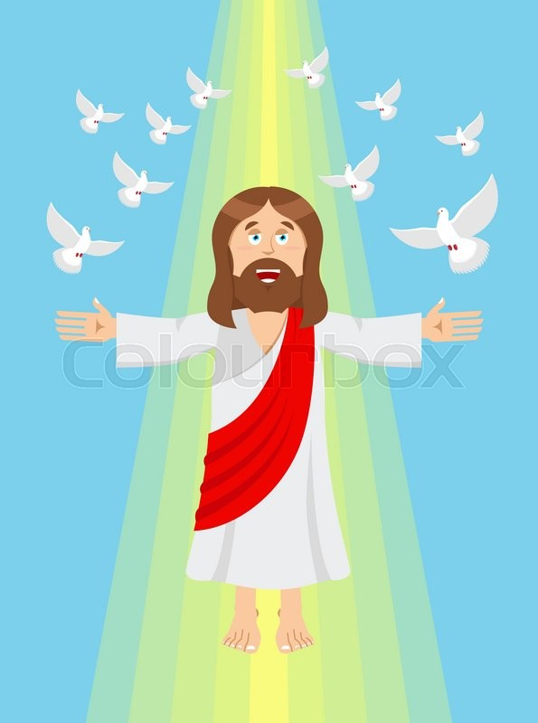 jesus and pigeons. ascension of jesus christ. son of god in heaven