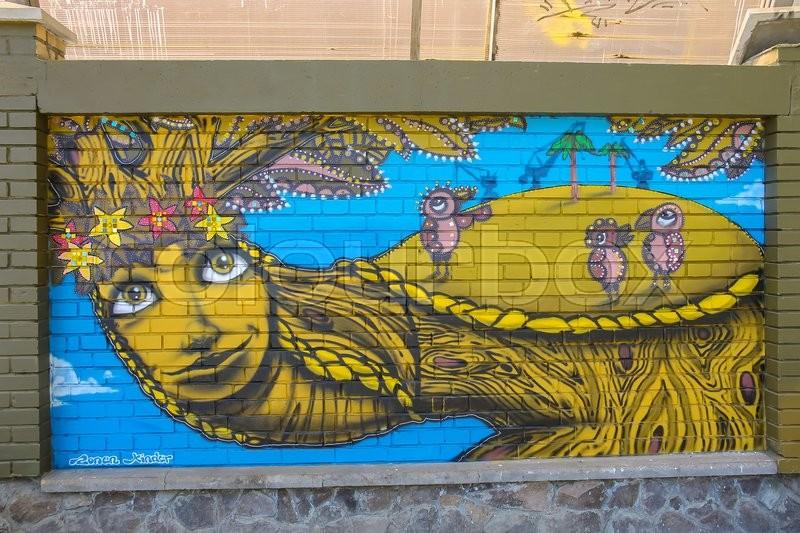 Lviv, Ukraine - July 5, 2014: Street art panel by graffiti artists ...
