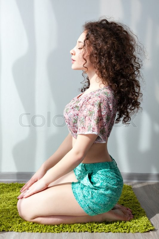Young Beautiful Girl With Curly Hair Stock Image Colourbox