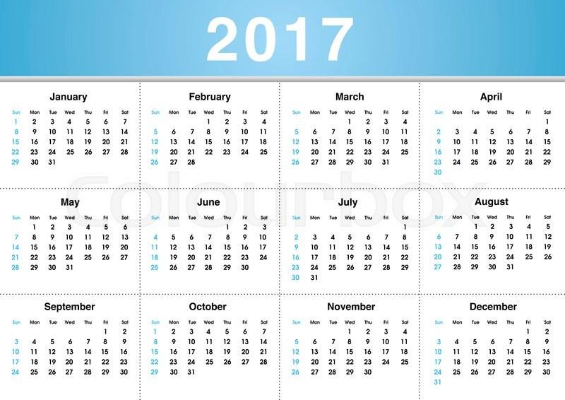 Simple 2017 Calendar / 2017