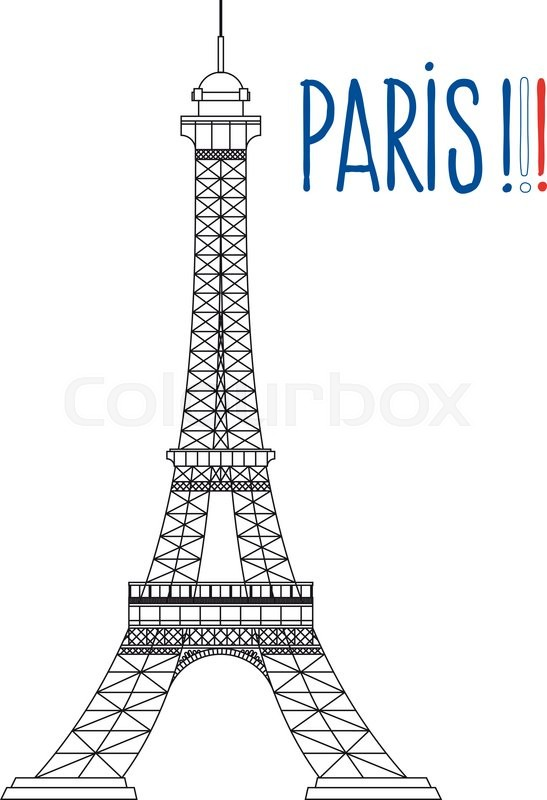 Simplified The Eiffel Tower With Text Paris In Colors Of French Flag Vector