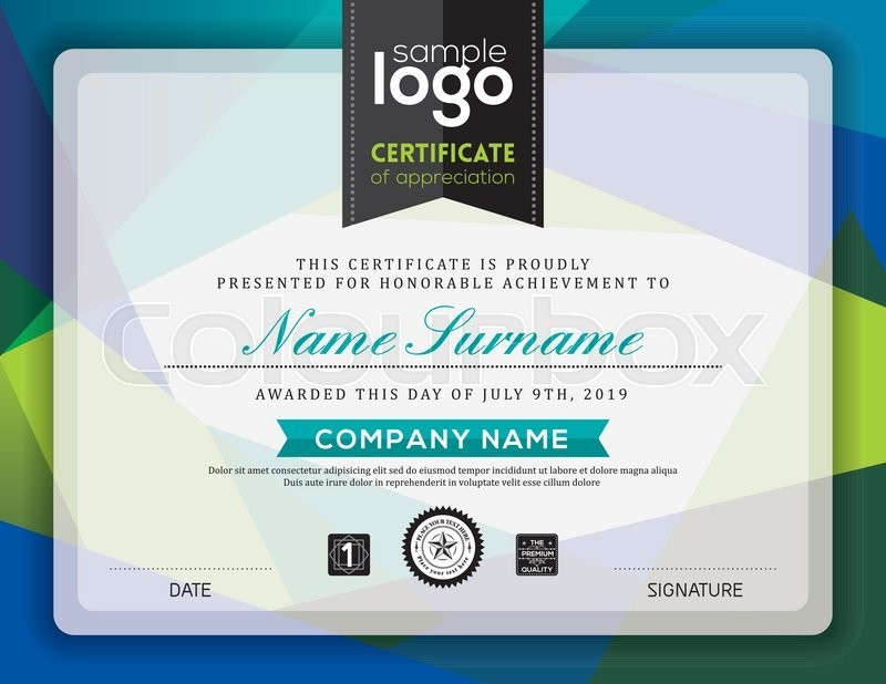 Modern Certificate Blue And Green Triangle Shape