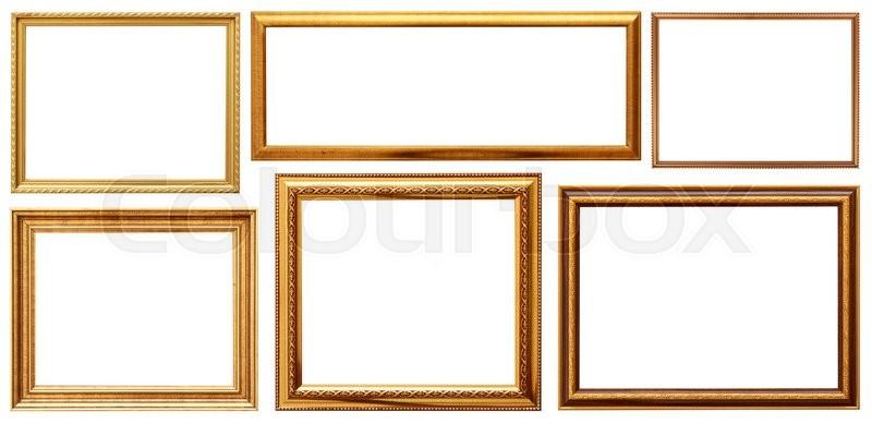 A set of golden frame Wood frame simple design Stock Photo