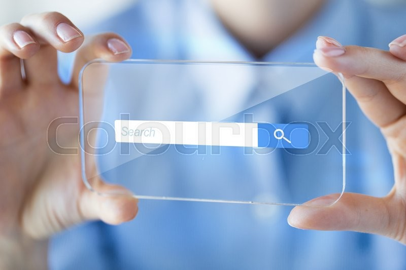 Business, technology, internet and people concept - close up of woman hand holding and showing transparent with browser search bar on screen smartphone at office, stock photo