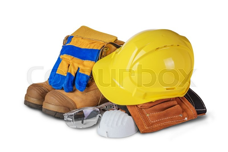 Safety industrial and construction equipment isolated on white background, stock photo