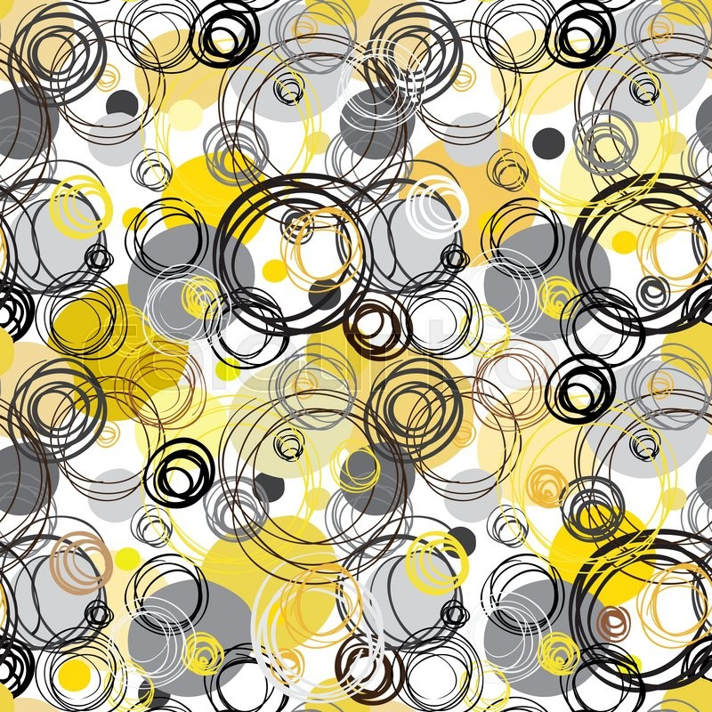 Black Yellow White Hand Drawn Intersecting Outline Circles In Background Wrapping Paper Or Textile Fabric Texture Vector Graphic Design