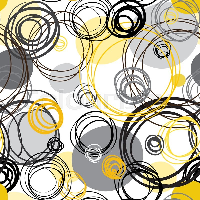 Black Yellow White Hand Drawn Intersecting Outline Circles In Background Wrapping Paper Or Textile Fabric Texture Graphic Vector Design