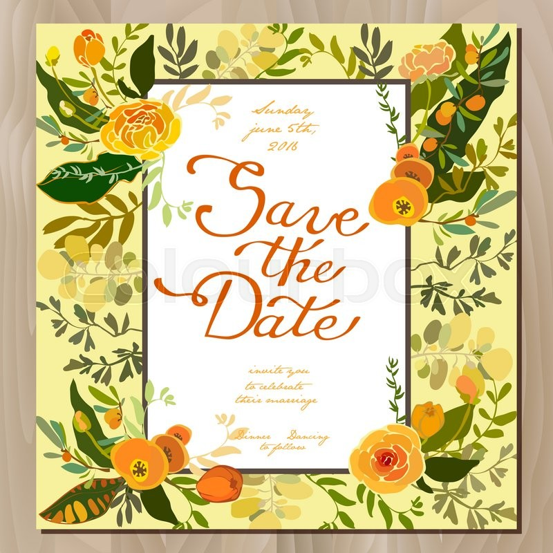 Wedding invitation card with floral border frame. Orange yellow ...