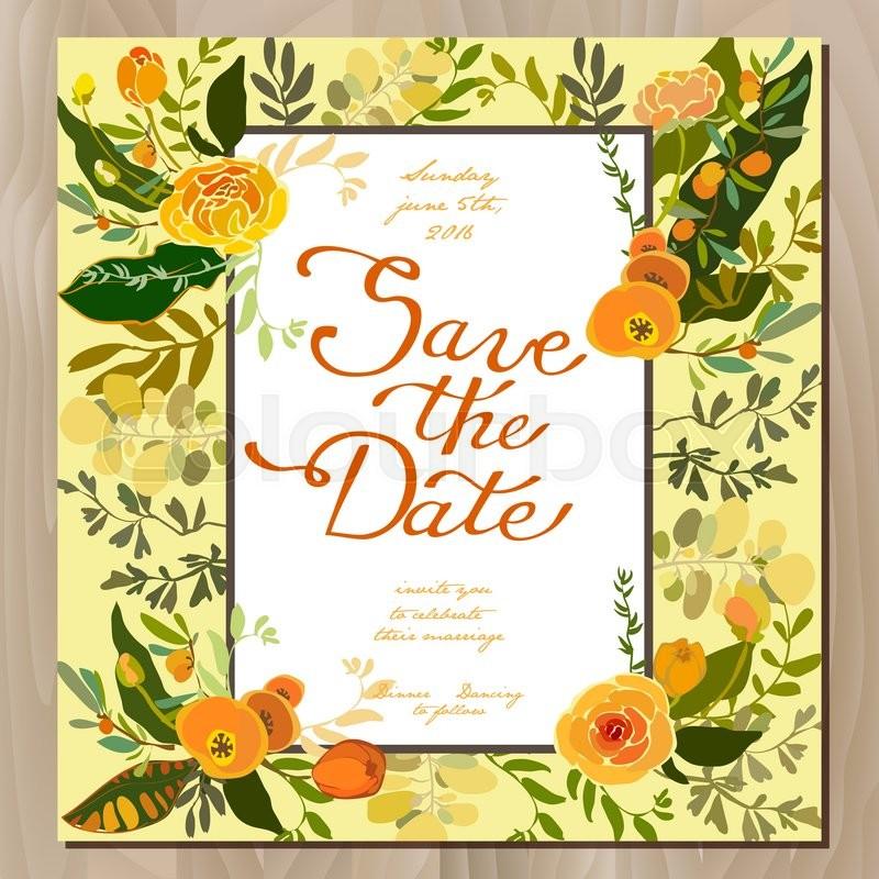 Floral Wedding Card Manufacturer From Hosur: Wedding Invitation Card With Floral Border Frame. Orange