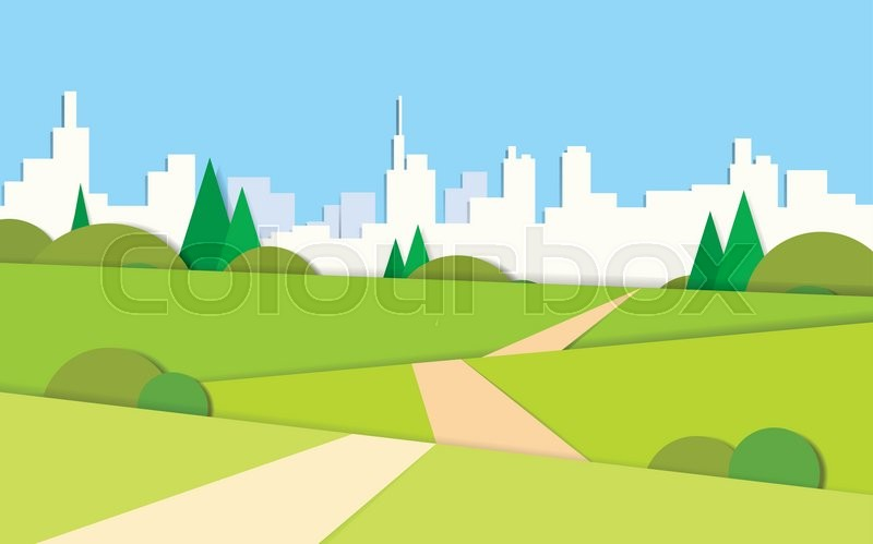 Summer View Green Landscape Valley Road To Modern City View Background Vector Illustration, vector