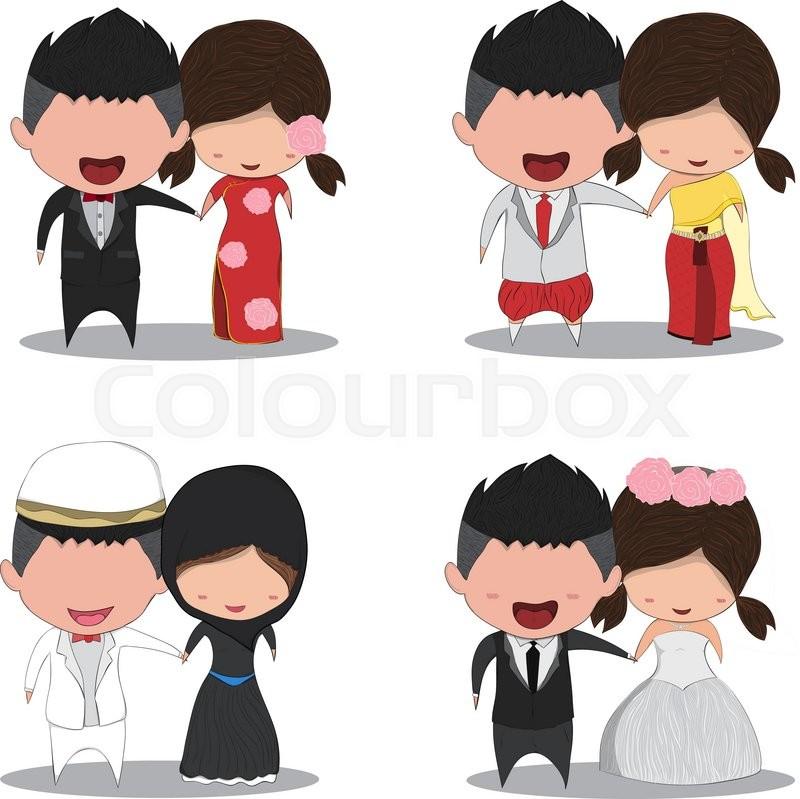 Wedding Hairstyles Drawing: Set Cute Cartoon Wedding Couple Men And Women Marriage