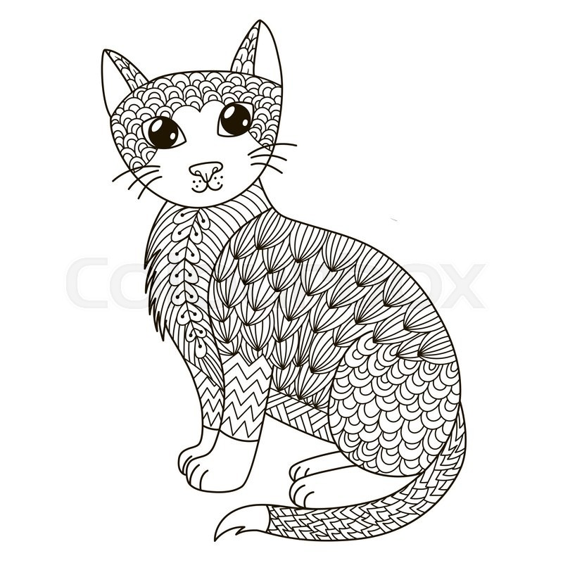 Zentangle cat for coloring page, shirt ... | Stock vector | Colourbox