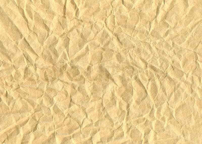 textured obsolete crumpled packaging brown paper background stock