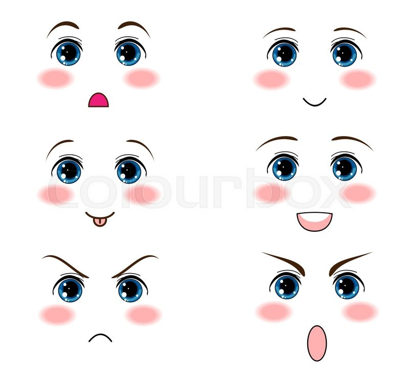Vector Icon Set Kawaii Anime Manga Face Muzzle With Different Expressions Funny Cute Sweet Emotions Smiles Flat Cartoon Style