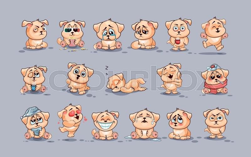 set vector stock illustrations isolated emoji character cartoon dog