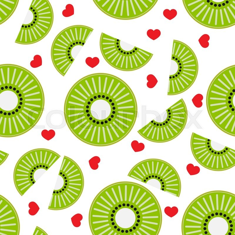 Seamless Vector Pattern Abstract Round Flower Heart Leaf In Flat Style Element