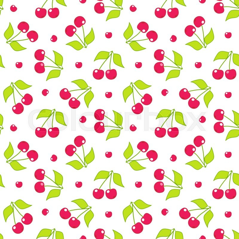 Seamless Vector Pattern Cute Abstract Cherry With Branch And Leaves In Flat Style Cartoon Element For Design Wallpaper Background Texture Textile
