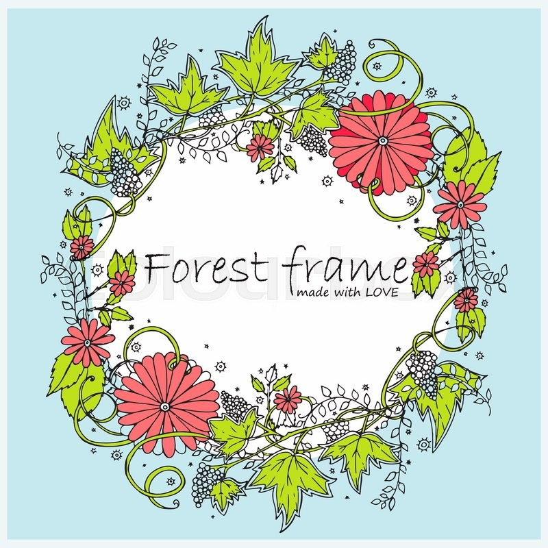 Colored hand-drawn vector vintage oval frame. Forest or garden herbs ...