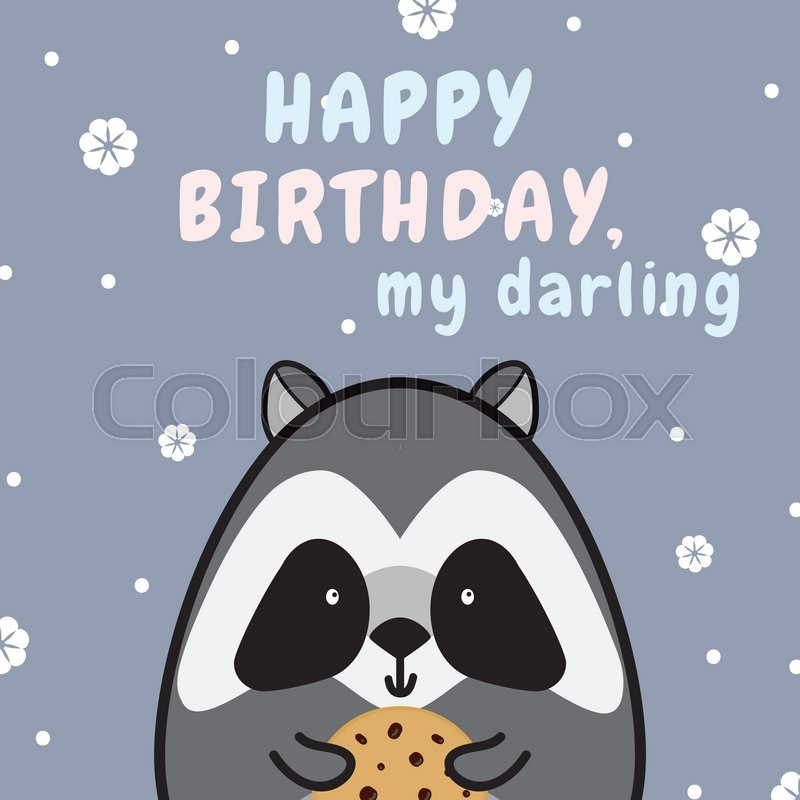 Sweet and cute greeting card. Happy birthday card with vector flat