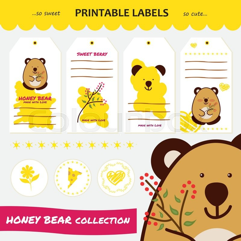 Vector Collection Printable Gift Tags Labels And Stickers With Cute Cartoon Bear Raspberry Flower Cheese Heart Flat Elements For Design