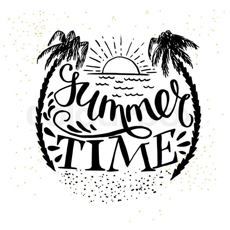 'Summer Time' hand lettering with the sun, palm trees and