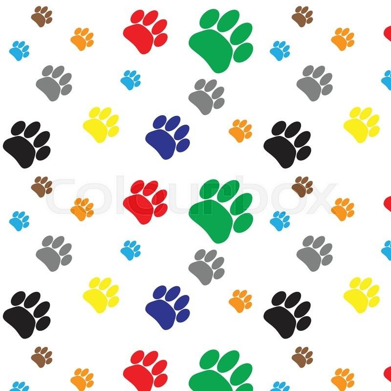 263d65317056 Pattern color dog animal foot print. Print paw and footprint, pet wildlife,  cat walk trace. Vector flat design illustration   Stock Images Page    Everypixel