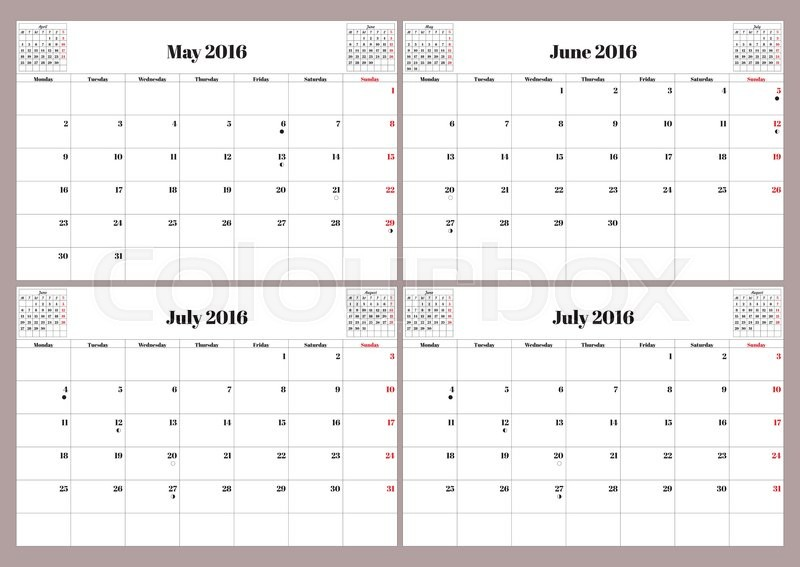 Calendar June July Aug : Vector english calendar year may june july august