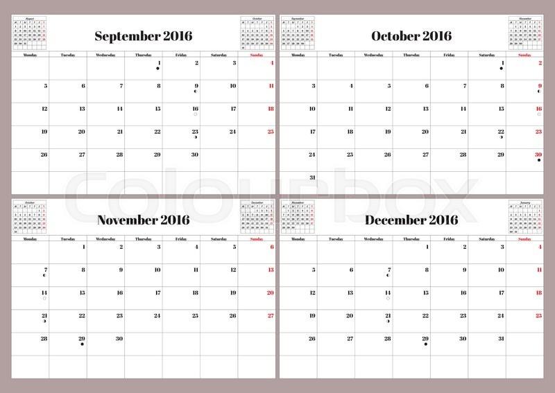 Calendar 2017 October Through December