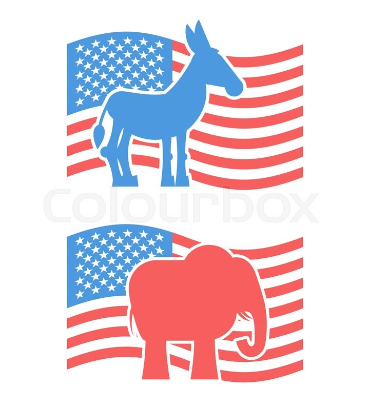 donkey and elephant symbols of political parties in america usa